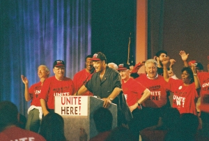 Andrew Stern, John Wilhelm, Bruce Raynor surround Jesse Jackson at 2004 UNITE HERE Convention