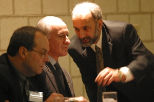Warren Pepicelli briefly has Bruce Raynor's ear at  New England Joint Board meeting c. 2002