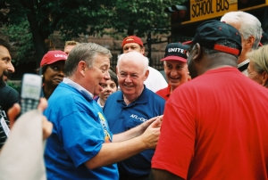 John Wilhelm, John Sweeney, Bruce Raynor, Edgar Romney at 2003 Yale strike